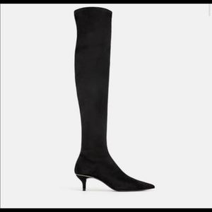 Nwt Zara Black Over the Knee Boots 39 8.5